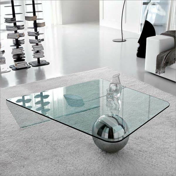 Globe Shiny Glass Coffee Table Glass Center Table Living Room High Quality  Glass And Ball Steel Part 69
